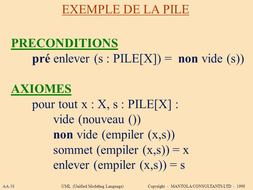pré enlever (s : PILE[X]) = non vide (s)) AXIOMES